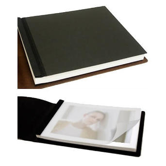 inner covers - black leather book with inner sleeves
