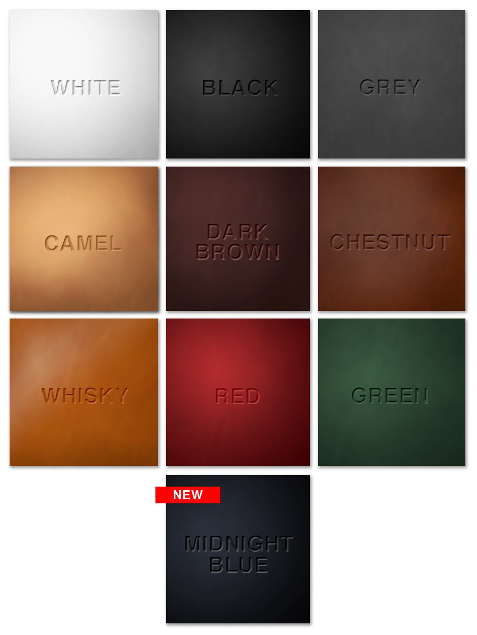 leather tanning colours for portfolios