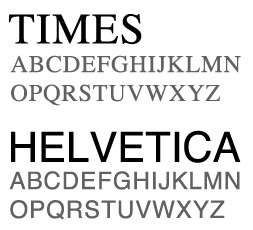 Times vs. Helvetica Font Faces