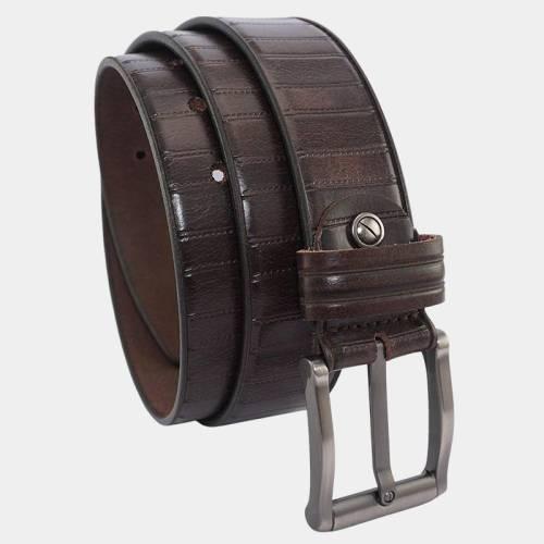 Embossed Leather Belt for Men