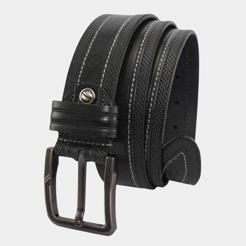 Embossed Leather Belt for Men Black