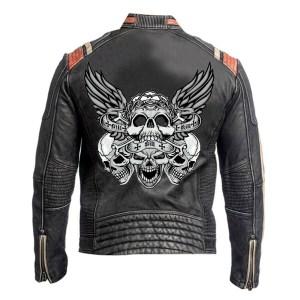 Men's Black Vintage Skull Design Leather Jacket