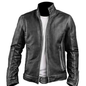 Men's Biker Black Leather Jacket with Embossed Skull and Bones Style