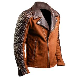 Men's Brown Diamond Biker Vintage Leather Jacket