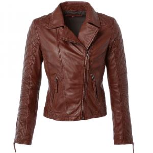 Women's Stylish Brown Leather Jacket