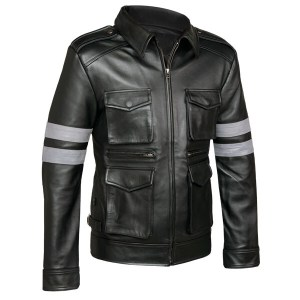 4 Pockets Black Leather Jacket For Men