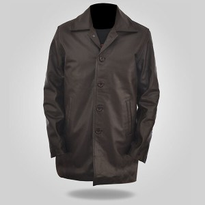 Detective Men's Brown Leather Coat