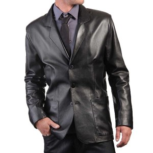 Men's Black Leather Law Coat