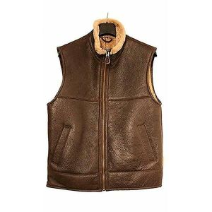 Brown Leather Vest for Men