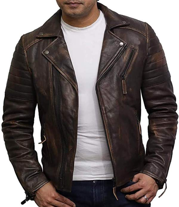 Tan men's leather jacket