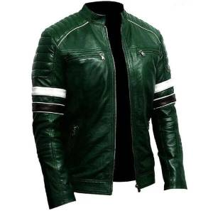Green Men Biker Leather Jacket