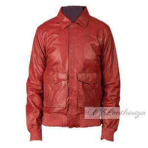 Berry Red Stylish Bomber Men's Leather Jacket