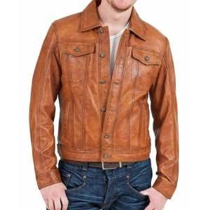 Men's Biker Motorcycle Vintage Brown Classic Leather Jacket