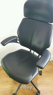 freedom task chair with headrest folding kitchen table and chairs black leather humanscale ergonomic office