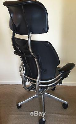 freedom task chair with headrest wooden restaurant high canada ergonomic humanscale office in black leather chrome frame