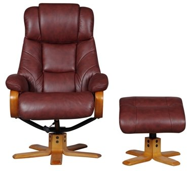 Cologne Genuine Leather Recliner Swivel Chair in Chestnut