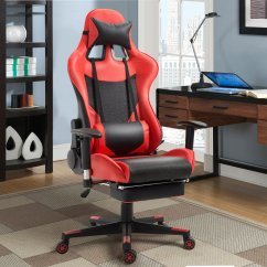 Gaming Chair With Footrest Lounge Towel Clips Giantex High Back Racing Style Reclining