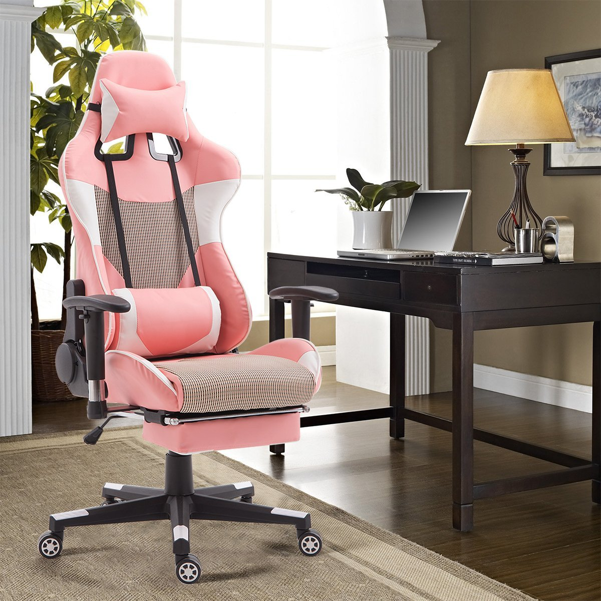 best gaming chair with footrest white plastic folding chairs wedding giantex high back racing style reclining