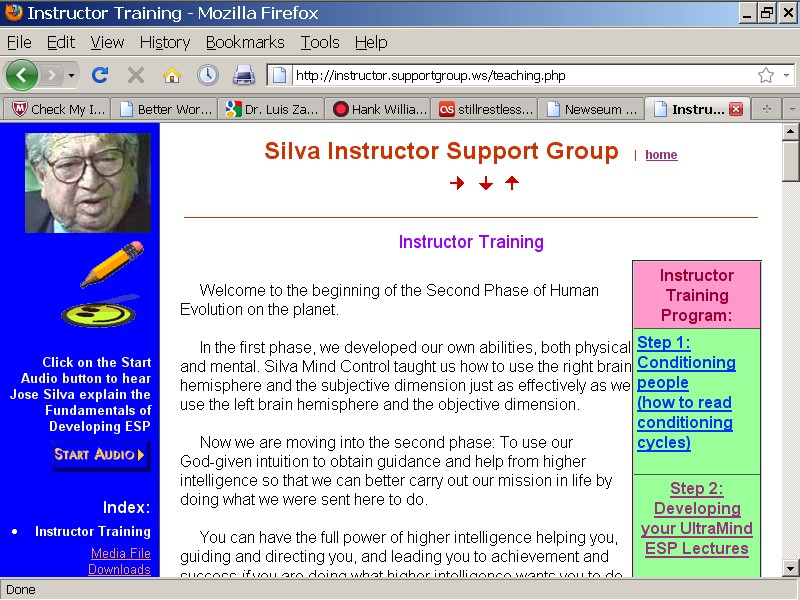 Detailed Instructor Training in Silva Instructor Support Web Site