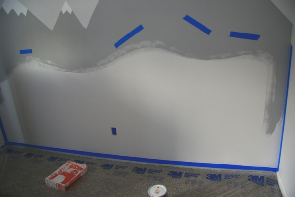 Mountain Mural Painting in Process