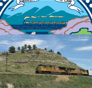 Apropos of nothing, I think I figured out what the train in the state seal is supposed to represent...