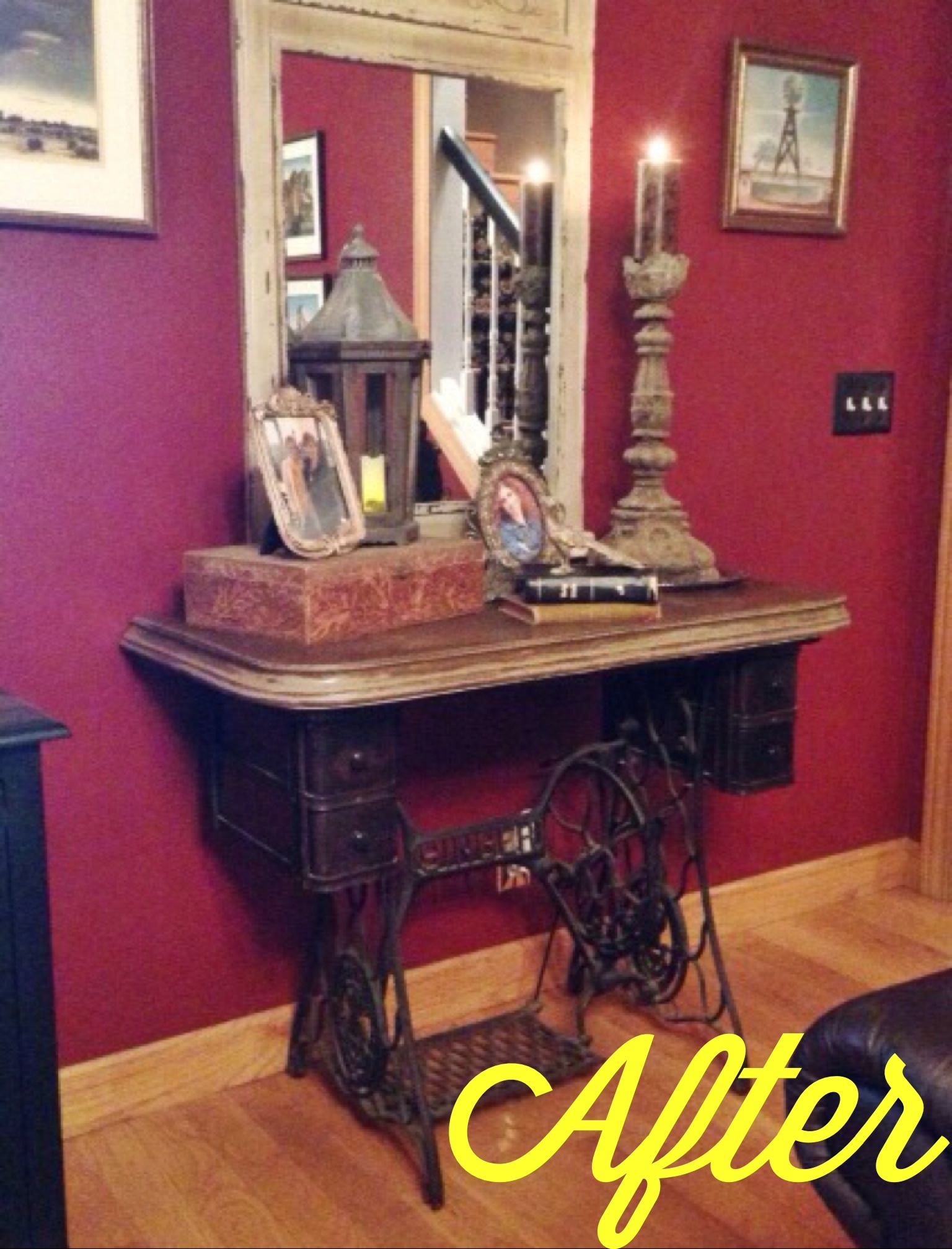 Repurposed Antique Sewing Machine Leaving Our Trail