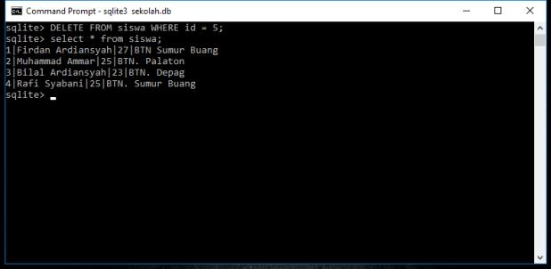 Tutorial Belajar SQLite Perintah Delete