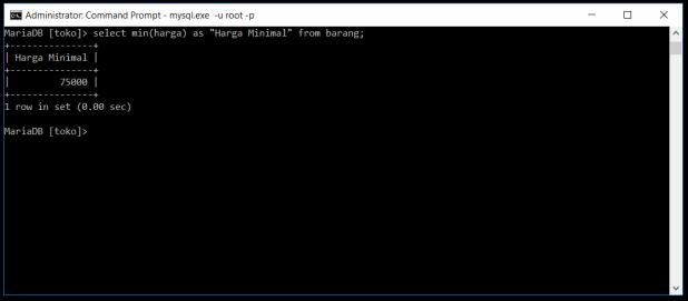 Fungsi Min Di Database MySQL