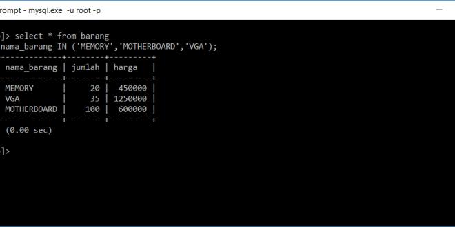 kondisi in di database mysql