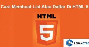 Cara Membuat List Atau Daftar Di HTML 5