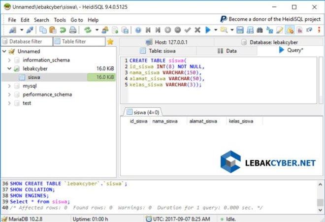 Membuat Tabel Di Database MariaDB