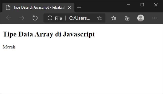 tipe data pada javascript