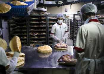 Employees, wearing personal protective equipment, pack bread at a bakery in the Lebanese capital Beirut on March 30, 2020. - Lebanon has reported 446 COVID-19 cases to date, with 11 deaths. To try to contain the spread of the virus, Lebanon has imposed isolation measures on its population until April 12, with a nighttime curfew in effect. Schools, universities, restaurants and bars are closed. (Photo by PATRICK BAZ / AFP)