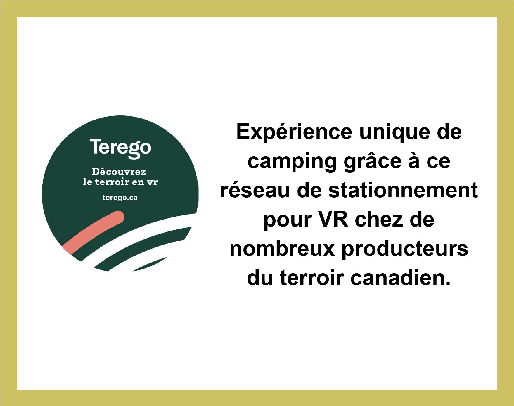 Partenariat avec Terego, réseau de stationnement pour VR chez des producteurs du terroir canadien