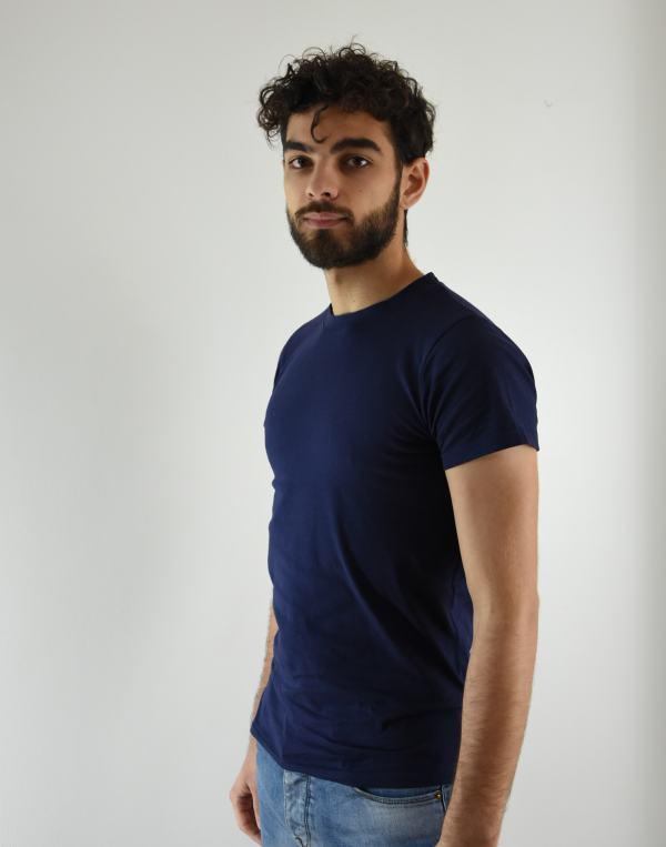 Tee-shirt Homme Bleu Marine Col rond en coton bio