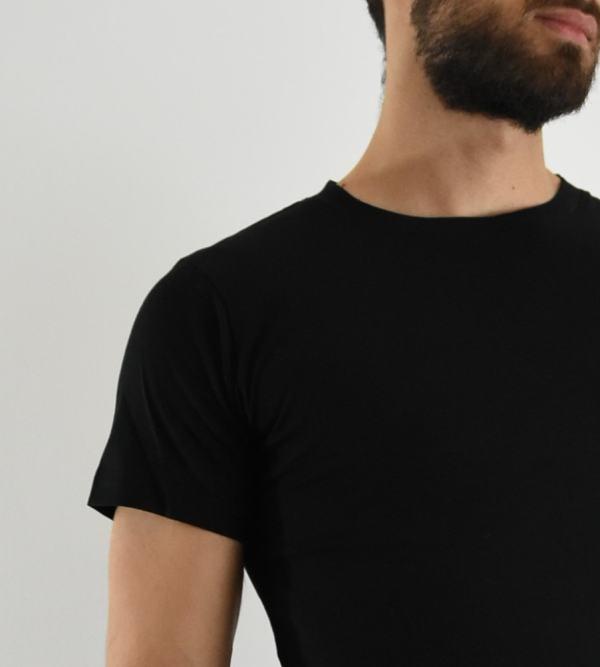 Tee-shirt Homme Noir Col rond en coton bio - Le Basiq