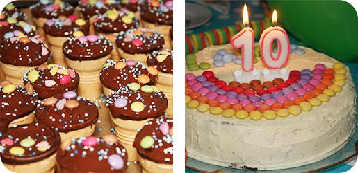 Torte und Muffins - 10. Geburtstag