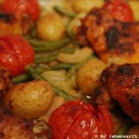 Chickenwings mit Bohnengemüse