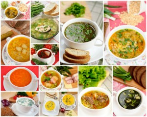 Tasty homemade soups, collage