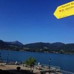 Alpenüberquerungshinweisschild