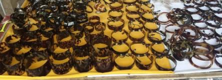 Bracelets made from hawksbills turtle shell.