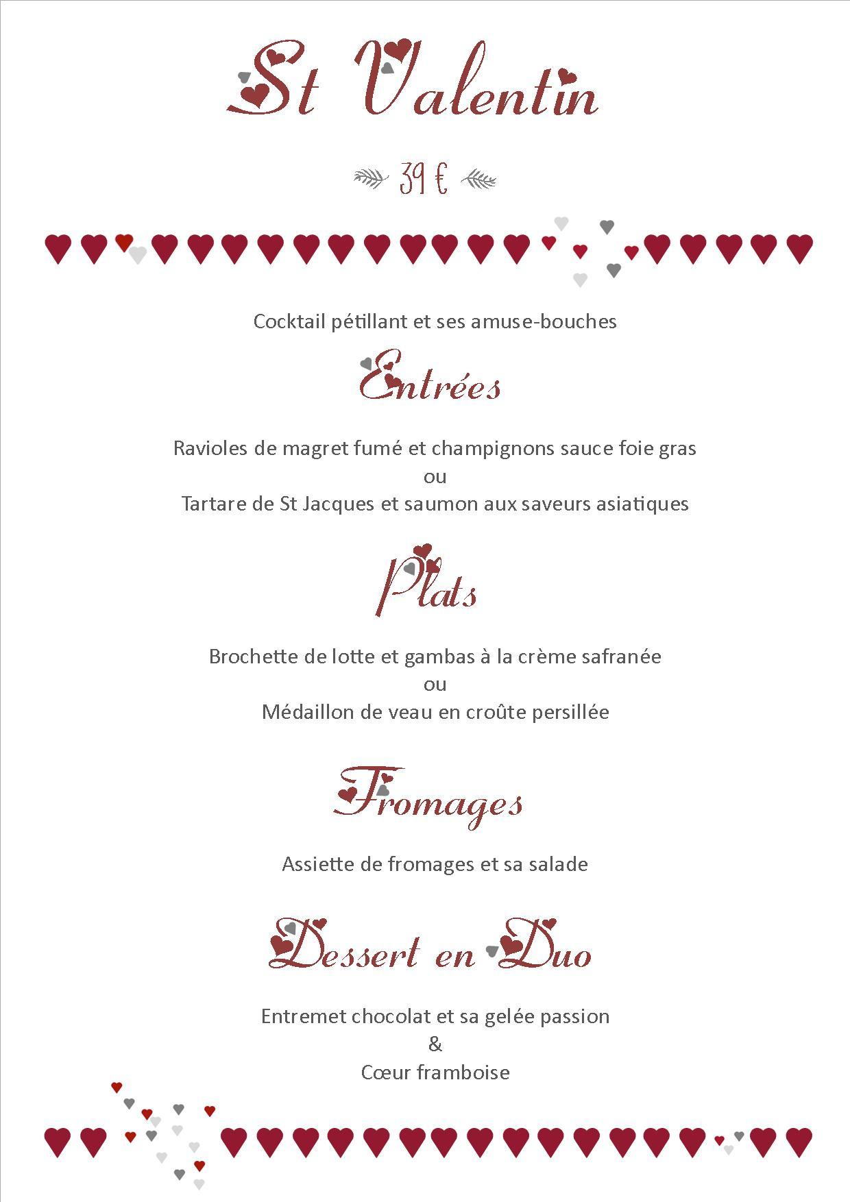Menu Saint Valentin Le Bistrot Gourmet La Cuisine