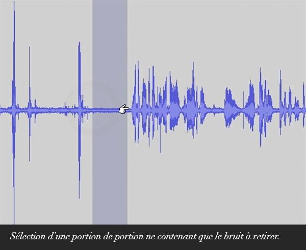 Sélection d'une portion ne contenant que le bruit à retirer.