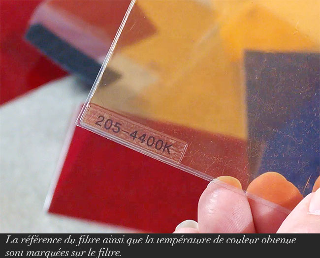 La référence du filtre ainsi que la température de couleur obtenue sont marquées sur le filtre.