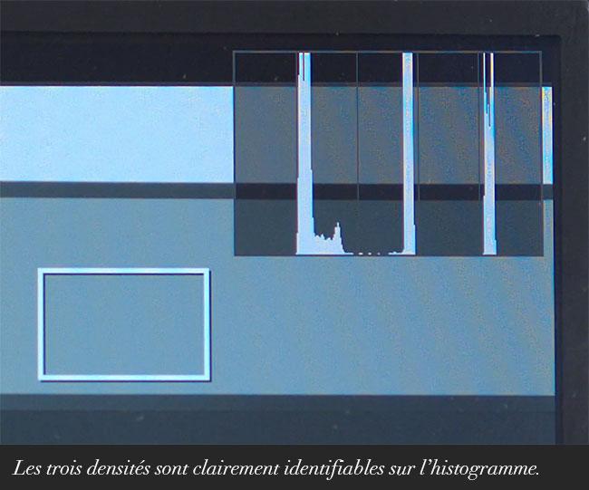 Les trois densités sont clairement identifiables sur l'histogramme.