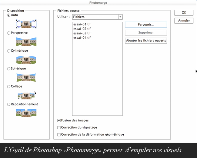 L'Outil de Photoshop «Photomerge» permet d'empiler nos visuels.