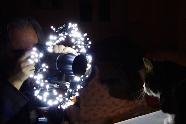 Fabriquer un ring avec une guirlande de Noël.