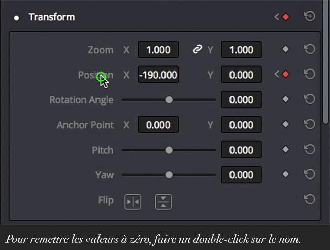 Pour remettre les valeurs à zéro, faire un double-click sur le nom.