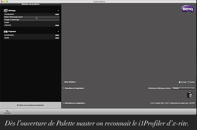 Dès l'ouverture de Palette master on reconnait le i1Profiler d'x-rite.