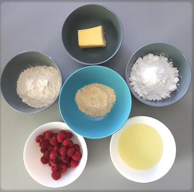 Ingrédients des muffins à la framboise